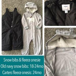 """Snow bibs and fleece """"bear"""" onesie!"""